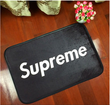European American fashion brand logo supreme flannel living room bedroom carpet floor mats non-slip mats rugs free shipping40*60