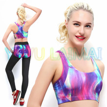 JIGERJOGER 2016 Tight Running Vest Top Quality Designer very new Purple Galaxy Running Sports Workout Yoga Bra for women Summer(China)