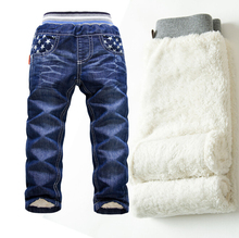 DKZ171 Free shipping KK Rabbit brand top sale baby pants for winter warm and thicken boy clothes children girl jeans retail(China)