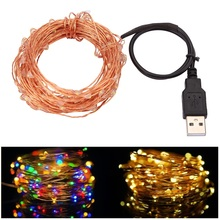 10M 33FT 100 led USB Outdoor Led Copper Wire String Lights Christmas Festival Wedding Party Garland Decoration Fairy Lights