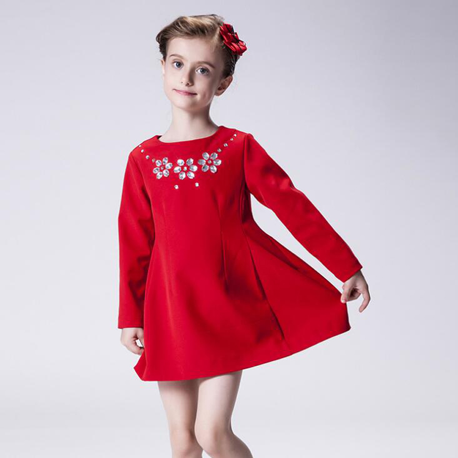 New Brand 4-9 Years Girls Long Sleeve Red Solid color fall Dress Cotton Casual Dresses Kids Clothing winter dress girls<br><br>Aliexpress