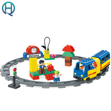 HuiMei Rail Bus Big DIY Model Building Blocks Bricks Baby Early Educational Learning train Birthday Gift Toys for Kids Children