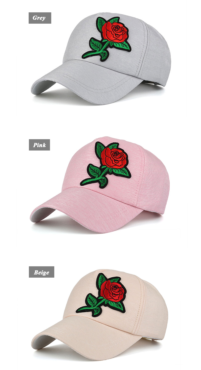 Small Embroidered Flower Snapback Cap - Grey Cap, Pink Cap and Beige Cap Front Angle Views