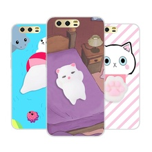 Anti Stress Squishy 3D Phone Case For Huawei P8 P9 P10 Lite 2017 Case Cute Cat Claw Kitty For Honor 9 8 Pro V9 Soft Back Cover