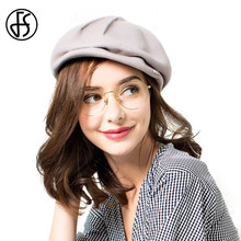 FS Lady Wool Berets Vintage Winter Black Gray Khaki Purple Wine Red Flat Cap Hats Fashion Female Brand Felt Hats Boina Mujer(China)