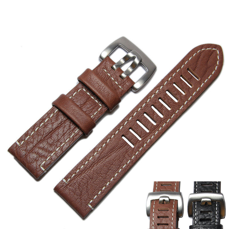Brown Black 23mm Luxe Genuine Leather Watchband Watch Strap for Lumei Watch<br><br>Aliexpress