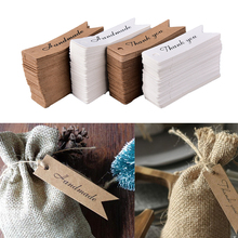 100pcs Thank you Letter Kraft Paper Blank Paper Price Hang Tag Handmade Gift Bookmarks Black Paper Hang Label Christmas Tag