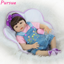 "Buy Pursue 22""/57cm Newborn Silicone Reborn Babies Girl Reborn Toddler Dolls Silicone Vinyl Lifelike Baby Doll Sale bebe reborn"