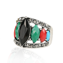 2015 New Unique Vintage Rings For Women Multicolor Resin Tibet Silver Alloy Cheap Wholesale Jewellery Mix Lots