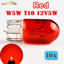 flytop 10 x Red T10 W5W 501 194 Glass Car Lamp 12V5W Auto Miniature Bulb W2.1x9.5d Wedge Single Filament(China)