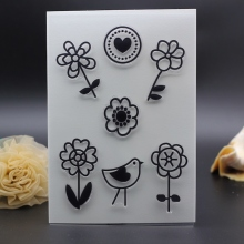 11X16CM  clear stamp for DIY Scrapbook Card Decoration house decorative flower and bird Transparent Stamp silicon roller stamp
