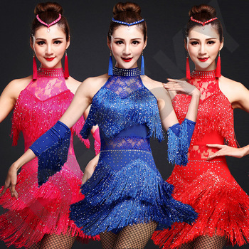 latin dance competition costumes ladies professional dresses ballroom womans adult salsa sequin fringe dancing clothes tango