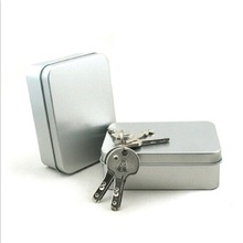 Mini SURVIVAL KIT TIN HINGED LID Silver Small Empty Plain Metal Storage Bit practical Jewelry Food Storage Box
