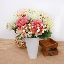 1 Bouquet 5 Head Vivid Artificial Dahlia Silk Flower Wedding Party Fake Flowers Decoration Diy Home Art Decor P0.5