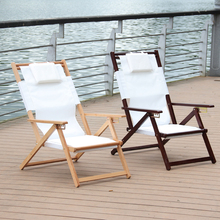 Adjustable and Foldable Reclining Beach Chair Chaise Lounger Fabric Canvas Indoor/Outdoor Furniture Folding Lounge Balcony Chair