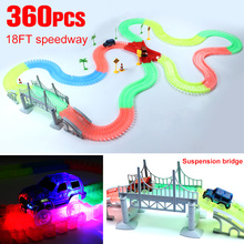 Miraculous Glowing Race Track Bend Flex Flash in the Dark Assembly Car Toy 165/220/240/360pcs Glow Racing Track Set