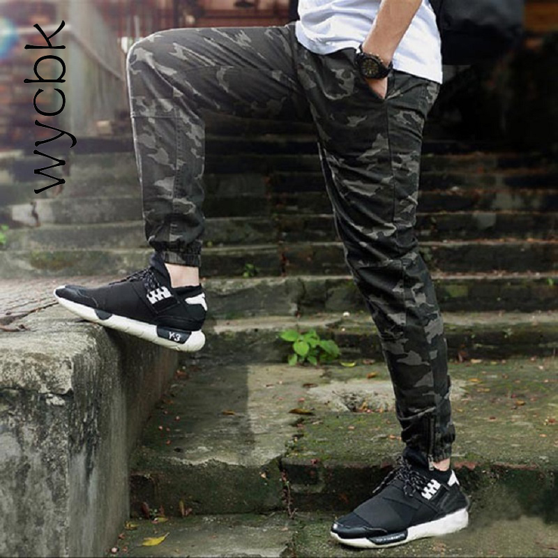 wycbk 2017 Mens Camo Joggers Pants Elastic Draw String Casual Camouflage Pants Black Joggers Calca Swag