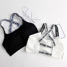 Women Sport Bra Fitness Top Letters Yoga Bra For Cup A-D Black White Running Yoga Gym Fitness Crop Top Women Push Up Sports Bra(China)