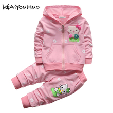KEAIYOUHUO 2017 Spring Autumn Girls Clothes Set Cute Cartoon Pattern T-shirt+Pant 2pcs Kids Outfit Sport Suit Children Clothing(China)