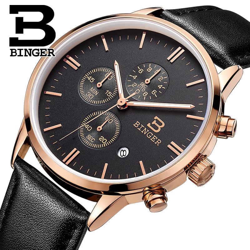 2017 NEW BINGER watches men luxury brand Wristwatches Quartz watch waterproof leather strap clock Auto Date Chronograph BG9201-4<br>
