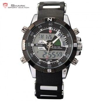 El marrajo sardinero shark sport reloj militar relogio cuarzo de los hombres reloj digital analógico doble de tiempo de alarma de silicona negro relojes/sh042