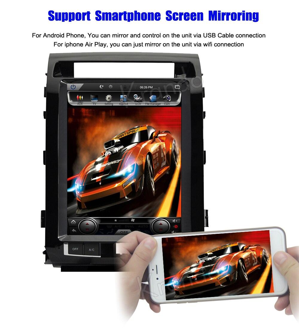 Krando tesla vertical screen land cruiser 2008-2015 Android car radio gps navigation multimedia system (6)