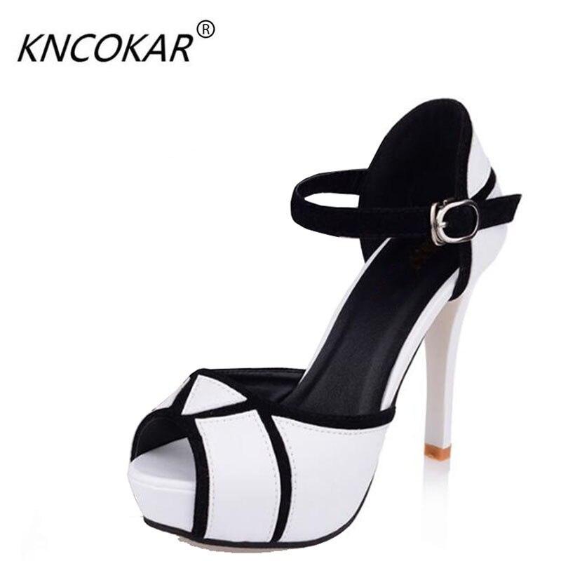 2017 Peep Toe Summer Sandals Ankle Strap Womens Sandals Platform 3cm High Heel 11cm For Office Lady Sandals Size 35-39<br>