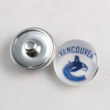 18MM Glass Ice Hockey Vancouver Canucks Team Logo Snap Button Fit Snaps Bracelet 10Pcs/lot(China)