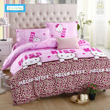 BEST.WENSD Home textiles bedclothes Child Cartoon pattern,Hello kitty bedding sets include duvet cover bed sheet pillowcase