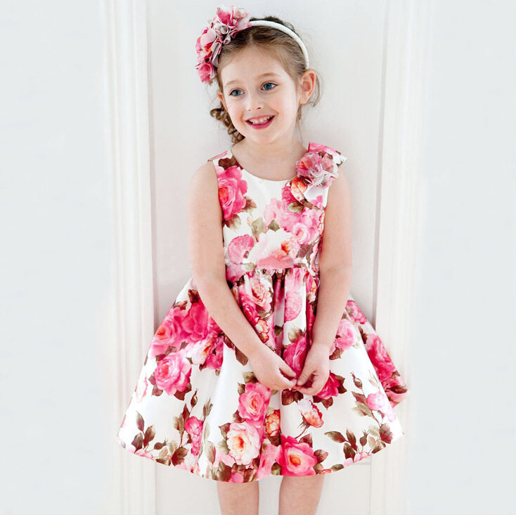Retail 2017 kids casual dress for girls with flower print baby girl dresses summer clothes vestido christmas bow ball gown<br><br>Aliexpress