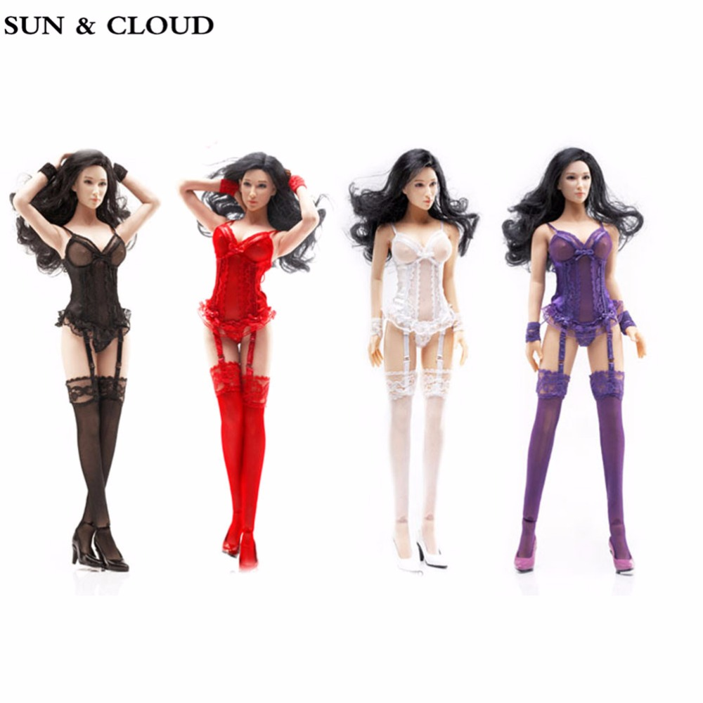 SUN &amp; CLOUD 1/6 Scale Sexy Lace Corset with Gartering Stockings for 12 Action Figure Doll Toys Accessories<br>