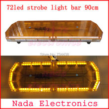 90cm Police strobe lights bar 72LED strobe light ambulance Warning lights car roof led flash lamps RED BLUE WHITE AMBER(China)