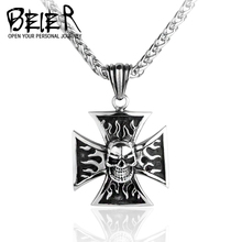 BEIER Factory Price One Piece Biker Iron Flame Cross Skull Pendant Necklace Titanium Men Jewelry BP8-004(China)
