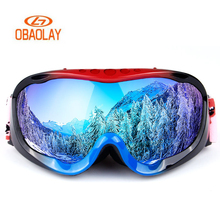 Skiing Goggles Glass Winter Lens Snowboard Double-Layer Anti-Fog OBAOLAY Outdoor Full-Frame