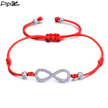PiPitree Love Infinity Charm Bracelet for Women Men Children Lovers Lucky Red String Bracelets Couple Jewelry Rope Braided Gift(China)