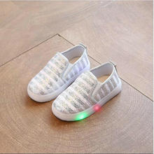 size 21-30 LED children shoes infant for girl 5 color luminous sneakers girl footwear kids light up shoes glowing sneakers(China)