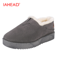 IAHEAD Hot Sale Shoes Women Boot Solid Slip-On Soft Cute Women Snow Boots Round Toe Flat With Winter Fur Ankle Boots UPC387