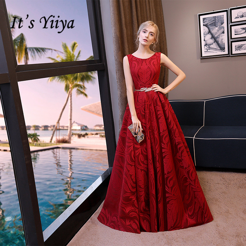 It's YiiYa Elegant Red O-Neck Sleeveless Backless Lace Up Embroidery Formal Dresses Floor Length Evening Dress LX442