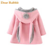 Cute Rabbit Ear Hooded clothes Coat New Spring jackets for Girls Autumn Warm Kids Outerwear Children Clothing Baby windbreakers(China)