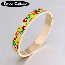 2017 New Fashion Stainless Steel Bangles Bracelet For Women Gold Couples Bangle Ethnic Colorful Enamel