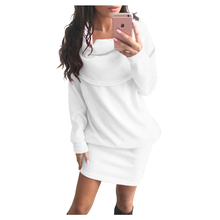 Women's New Office Autumn Solid Dress Casual Warm Fashion Clothing Wear Long Sleeve Loose Scarf Neck Mini Dress(Pink,Gray,Black)(China)