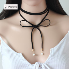 Korea Velvet Bow Necklace Multi Pearl Long Necklace Amazon Custom
