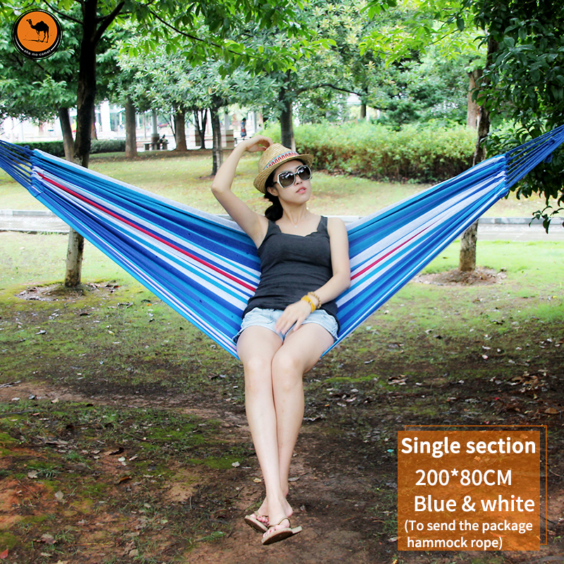 Outdoor Furniture Hammock 200*80cm Sky blue and White Striped Canvas Portable Camping Hammocks Camping Survival Patio Field<br>