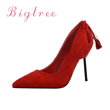 Summer Women Shoes Pink High Heel Platform Tassels Hollow Pointed Toe Sexy Black Red Nightclub Pumps