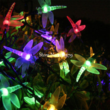 5M 20 LED Solar Powered Lamp Dragonfly Fairy String Lights for Wedding Christmas Party Festival Outdoor Garden Patio Decor(China)