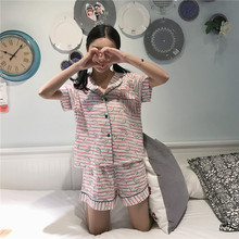 Hot Fashion Summer watermelon Brand Ladies Satin Pijama feminino Short Sleeve Silk pajama Sets sleepwear Pyjamas Women(China)