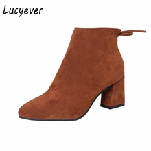 Lucyever 2017 New Autumn Winter Women Fuax Suede Leather Shoes Woman Vintage Square High Heels Ankle Boots Fashion Snow Boots