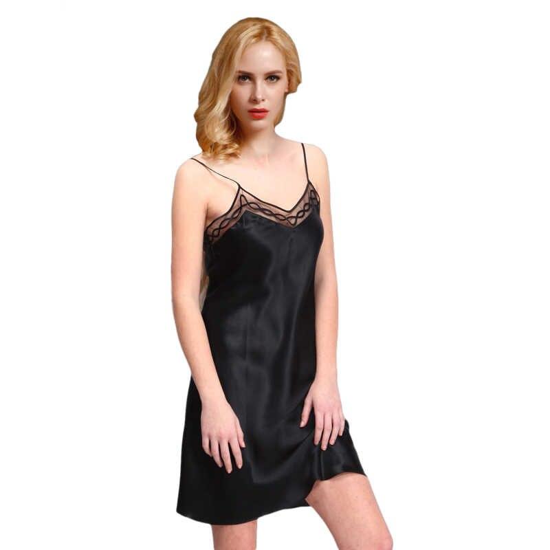 bf1987503c28719 100% атласный шелк Для женщин Ночная рубашка стильная женская обувь Ночная  сорочка Кружево Ночная рубашка