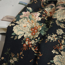wholesale large flowers print chinese traditional fabric for sewing curtain cotton linen material soft dress fabric tecido