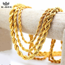 "Mens 24K Yellow Golden French Rope Chain Necklace  5-10mm 24"" 30"" 36"" Long Hip Hop Necklace"